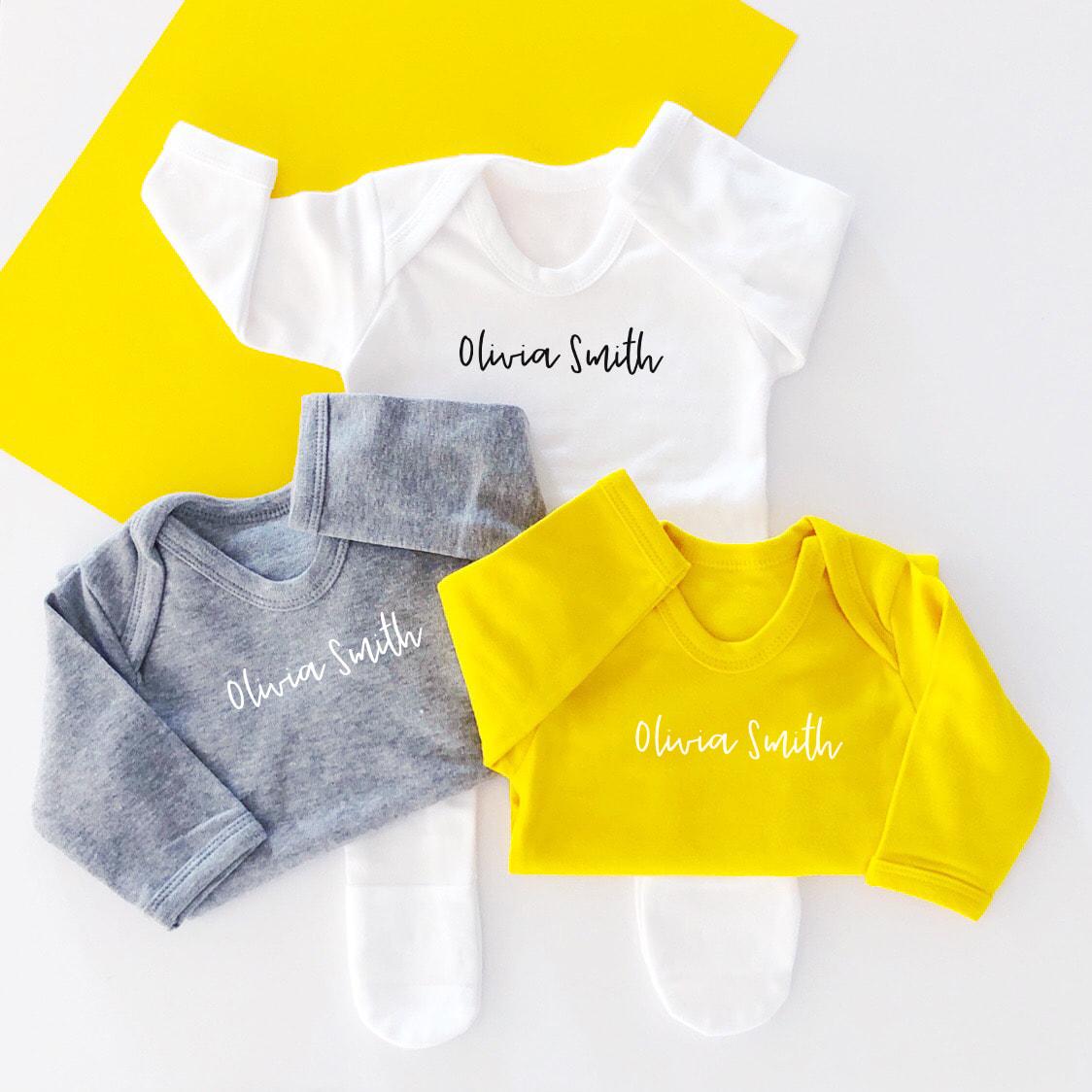 Personalised Simple New Baby Sleepsuit